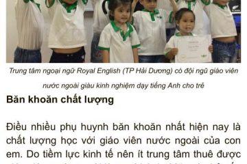 Tổ chức lớp học trải nghiệm Tiếng Anh cho trẻ em 8 – 15 tuổi tại Hải Dương